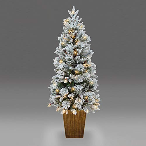 SHATCHI Flocked Porch Pre-Lit Christmas Tree Decorated with Berries Pinecones PVC/PE Tips and Warm White LEDs Xmas Holiday Home Office Decorations-4ft/5ft, Green, 5ft