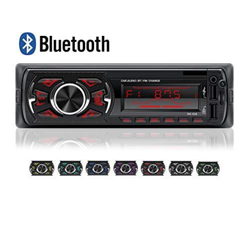 LSLYA   Coche Stereo Retroiluminación de 7 colores Llamadas manos libres Bluetooth Radio FM Reproductor de MP3 compatible con control remoto del volante / carga rápida / disco U / AUX / USB
