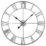 Searchyou - 60CM Relojes de Pared de Metal Grandes Silencioso Estilo Vintage Números Romanos para Salón Dormitorio Bar - (Plata)