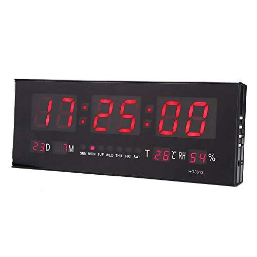 GOTOTOP - Gran pantalla digital LED con despertador y pantalla jumbo, con tiempo (hora, minuto, semana), calendario (fecha, mes, año), visualización de temperatura/humedad, 36 x 13 x 3,5 cm