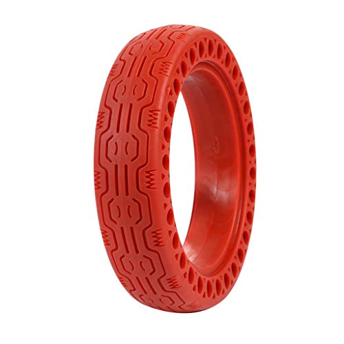 FOLOU Solid Tires 8.5 Inches Electric Scooter Wheels Replacement Tire 8-1/2'' Front or Rear Honeycomb Tires for Xiaomi Mijia M365, Gotrax GXL V2 and More (1 Piece) (Red)