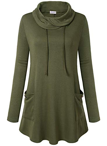 Bulotus Women's Long Sleeve Cowl Neck Casual Tunic Top with Pockets (Medium, Army Green)