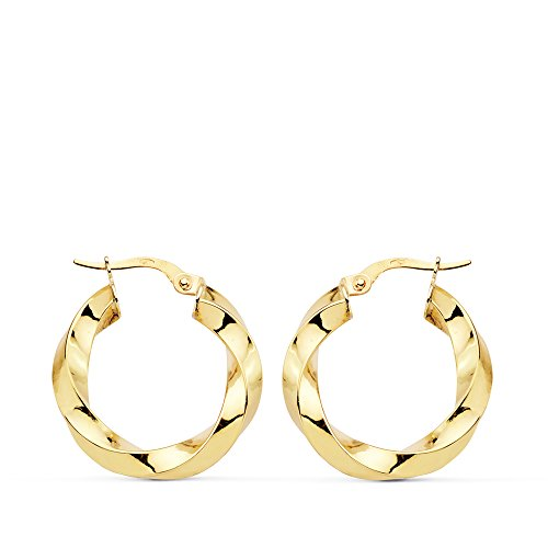 Pendientes aros Twisted oro amarillo 18 kilates 22 mm