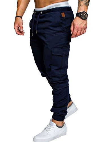 SOMTHRON Hombre Cinturón de Cintura elástico Pantalones de chándal de algodón Largo Jogging Pantalones de Carga Deportiva de Talla Grande Pantalones Cortos con Bolsillos Pantalones (ZQ-M)