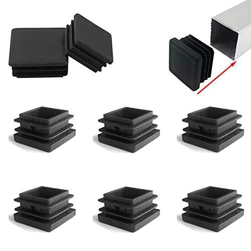 Zaky 6 tapones de láminas para tubos cuadrados de 60 x 60 mm, tapones para los pies, de plástico, cuadrados, color negro