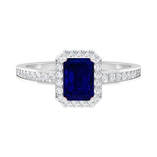 Rosec Jewels 14 quilates oro blanco round-brilliant-shape Octagone H-I Blue Diamond Zafiro azul creado en laboratorio.