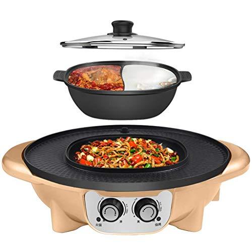 GJJSZ Barbecue Hot Pot Intégré Multifonction Friture Cuisson Ménage Coréen sans Fumée Antiadhésif Hot Pot Électrique Séparable,Convient pour 2-12 Personnes