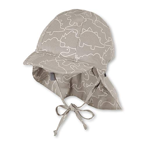 Sterntaler Baby-Jungen Schirmmütze Bindebändern, Nackenschutz und Dinosaurier-Motiven Mütze, Grau (Rauchgrau 566), (Herstellergröße: 43)