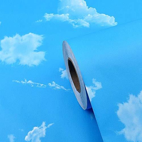 CXJJ Klebstoff Selbstklebende Tapete Wand-Aufkleber Schlafzimmer Blauer Himmel und weiße Wolken Tapete Decke Dachsanierung