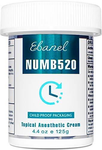 Ebanel 5% Lidocaine Topical Numbing Cream Maximum Strength, 4.4 Oz, Numb 520 Pain Relief Cream Anesthetic Cream Infused with Aloe Vera, Vitamin E, Lecithin, Allantoin, Secured with Child Resistant Cap