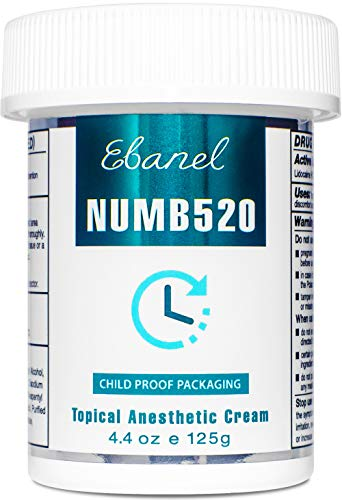 Ebanel 5% Lidocaine Topical Numbing Cream Maximum Strength, 4.4 Oz Pain Relief Cream Anesthetic Cream Infused with Aloe Vera, Vitamin E, Lecithin, Allantoin, Secured with Child Resistant Cap