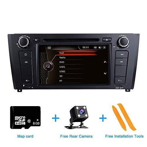 Autoradio, ZLTOOPAI per BMW E81 E82 E87 E88 Serie 1 da 7 pollici multi-touch autoradio GPS Radio lettore DVD con scheda gratuita Strumenti di rimozione telecamera retromarcia