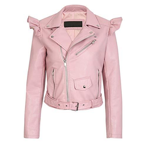 XZYP PU-Lederjacke für Damen, mit Reißverschluss, Rüschen, Mantel aus Kunstleder S Rose