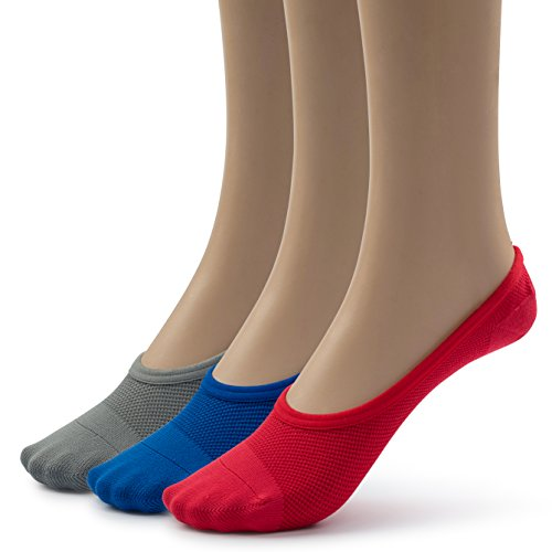 Silky Toes Nylon Mesh Soft Breathable Women's Foot Shoe Liners (9-11, Grey/Blue/Red (3 Pairs))