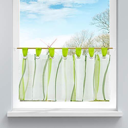 HongYa Scheibengardine transparenter Voile Bistrogardine mit Schlaufen Wellen Muster H/B 45/90 cm Grün