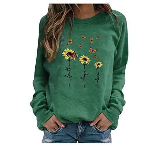 Dawnzen 2020 Neue Damen Pullover Elegant Herbst Winter Langarm Sweatshirt mit Schmetterling Motiv Rundhals T-Shirt Oberteile Pulli Mode Bequeme Streetwear