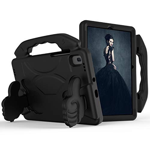 WHWOLF Funda infantil adecuada para Samsung Galaxy Tab S6 Lite (SM-P610/SM-P615) 10.4 pulgadas, soporte plegable de silicona a prueba de golpes, peso ligero con asa, soporte para tableta, color negro