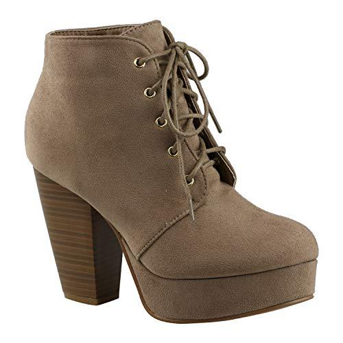Botas de tobillo de mujer con cordones y tacón grueso, zapatos de fiesta cómodos CM86, marr�n (Marrón topo), 39 EU