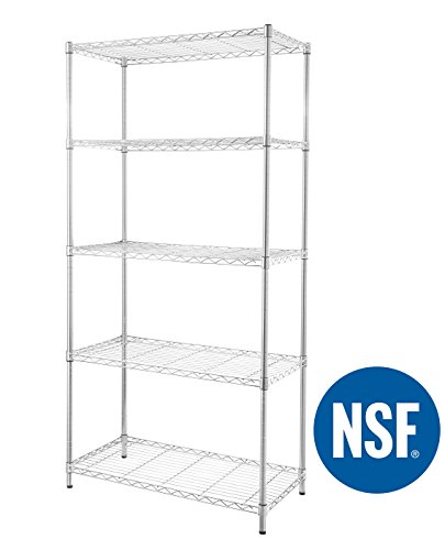 eeZe Rack ETI-003 Heavy Duty Steel Wire Chrome Shelving, Storage Rack, NSF Certified, 36x18x72-inches 5-Tier (Chrome) (New)
