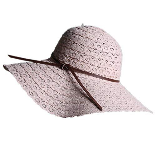 Meiibo Dames Kant Vouwen Boog Straw Hoed Outdoor Zonbescherming Visor Trend Sunshade Hoed 1 Stks voor Dames voor een verscheidenheid van Outdoor Activiteiten-L (56-58CM)