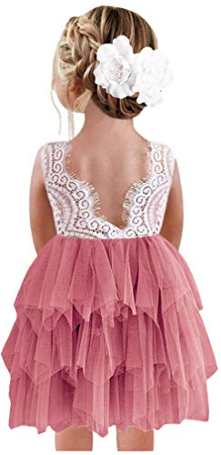 2Bunnies Girl Peony Lace Back A-Line Tiered Tutu Tulle Flower Girl Dress (Dusty Rose Sleeveless Short, 12 Months)