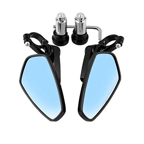 Universial Accesorios Moto de la Motocicleta Vespa Extremo de la Barra de Aluminio Espejos retrovisores Espejo retrovisor for Honda Yamaha Kawasaki Accesorios para Motocicletas (Color : Blue Mirror)