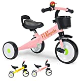Flat Perspective Kids Trike 3 Wheels - for Children, Baby Tricycle for 2-5 Years Old, 15.5 Inches for Toddler Boys Girls, Blue Kindercraft Trike with Storage Basket (Pink)