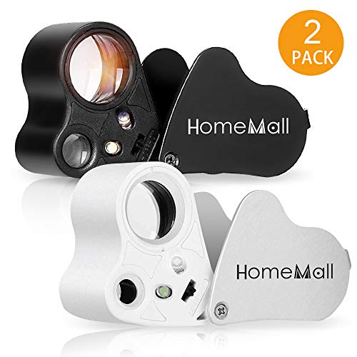 HOMEMALL 2 Pack 30X 60X Illuminated Jeweler Eye Loupe, Dual Lens Foldable Jewelry Magnifiers with LED Light for Gems, Jewelry, Coins, Stamps, Antiques, Models (White & Black)