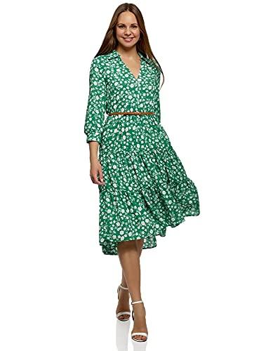 oodji Ultra Mujer Vestido Midi con Cinturón, Verde, ES 44 / XL