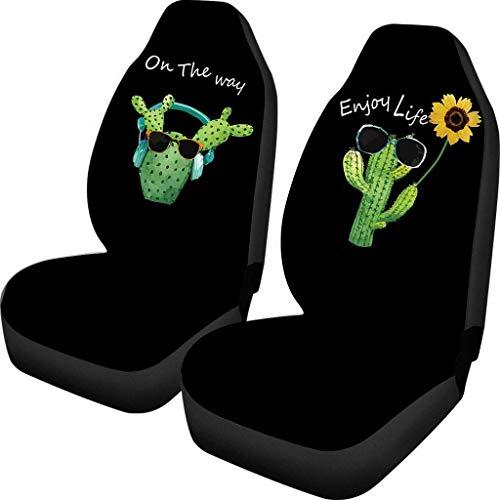 Drew Tours Fundas de Asiento Divertidas de Girasoles Cactus, 2 Piezas, Fundas para Asientos de Coche