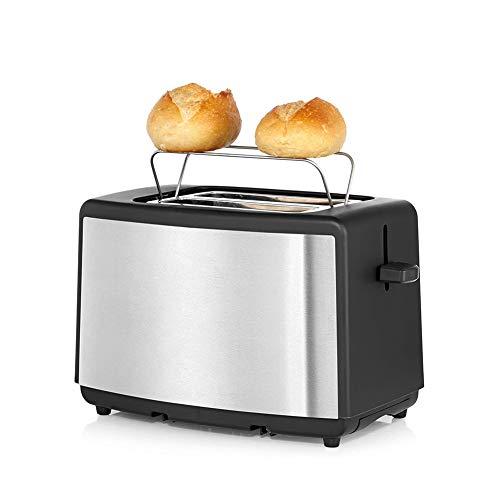 MAG.AL Edelstahl Matt Doppelschlitz Toaster Mit BröTchenaufsatz, 7 BräUnungsstufen, 800 W, Toaster Edelstahl