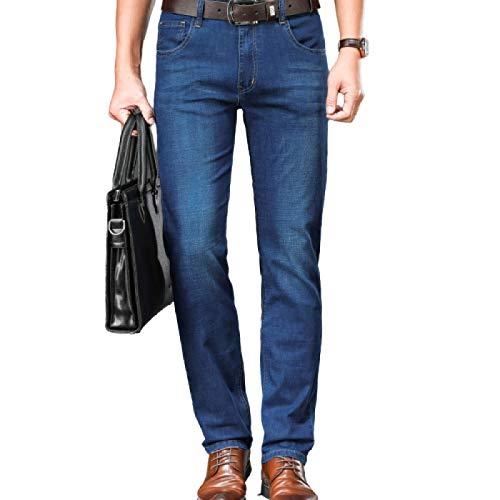 Pantalones Vaqueros de Mezclilla Rectos de Ajuste Regular para Hombre Todos los tamaños de Cintura Pantalones Vaqueros Lavados Finos Rectos y elásticos de Primavera y Verano 38