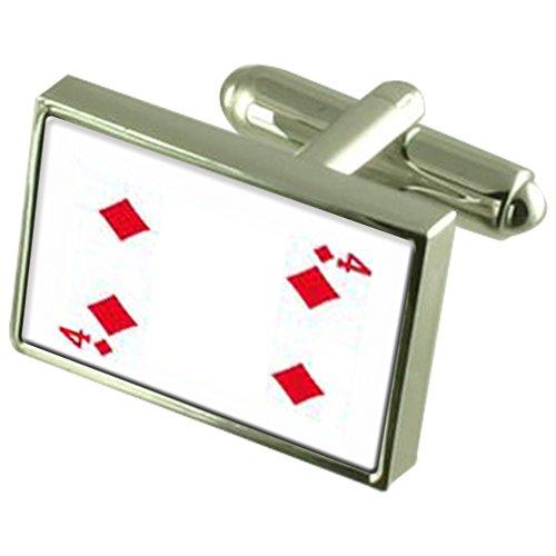 Select Gifts Numéro de carte de jeu Diamond 4 925 Sterling Silver Cufflinks Boxed