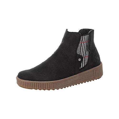 Rieker Damen Stiefeletten, Frauen Chelsea Boots, Stiefel halbstiefel Bootie Schlupfstiefel,Schwarz,42 EU / 8 UK