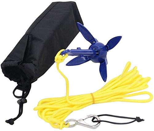 ISURE MARINE Kayak Anchor Kits Portable Folding Anchor Buoy Kit Canoe Kayak Raft Boat Sailboat Fishing with 16.4 ft. Marine Rope Complete Folding Grapnel Anchor Kit for Small Boats, Kayaks Etc