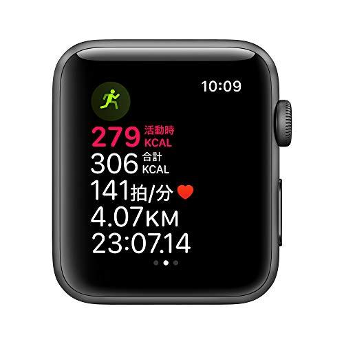 AppleWatchSeries3(GPSモデル)-42mmスペースグレイアルミニウムケースとブラックスポーツバンド