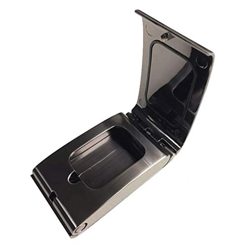 Aleación de cigarros Acero portátil, cigarrillos al aire libre con tapa, plata rectangular de plata grande, soporte de ceniza para fumadores (color: plata) interior (Color: gris metal cepillado) YXF99