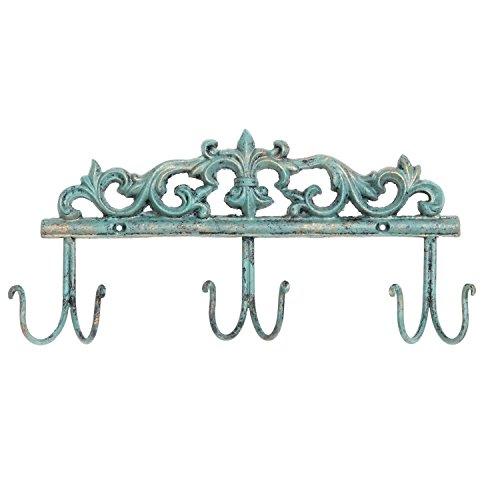 Vintage Style Rustic Turquoise Metal 6 Hook Coat Rack / Wall-Mounted Entryway Storage Hooks - MyGift