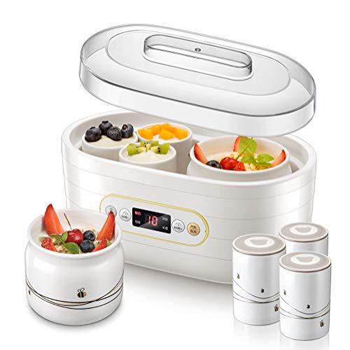 SJTL Elektrischer Joghurtzubereiter, Joghurtmaker, Joghurtbereiter, bis zu 0.5 L Joghurt, 6 x 125 ml Gläser mit BPA-freiem Schraubverschluss, Temperaturregelung, Timer