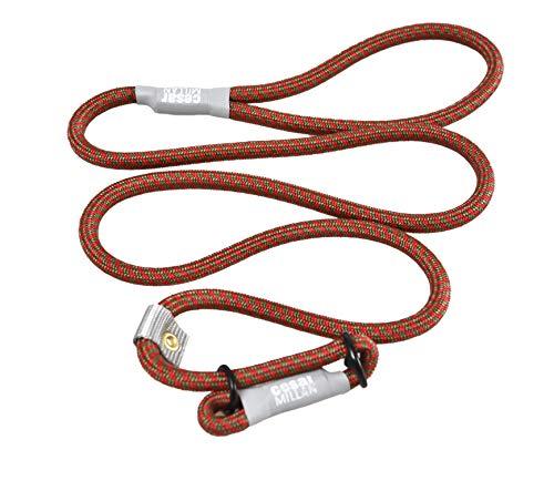 Cesar Millan Leine - Trainingsleine für Hunde - 2in1 Halsband Hund und Leine - Slip Lead - Retrieverleine mit integrierter Halsung - Länge 120cm Durchmesser 1cm Farbe Rot/Olive