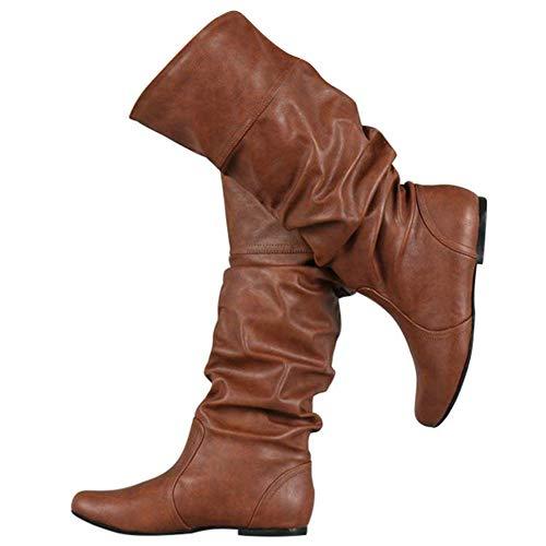Bigtree Damen Stiefel Kniehoch Slouchy Gemütlich Flach Pull On Lange Stiefel Klassisch Western Kampfstiefel Winter Herbst Schnee Stiefel Braun