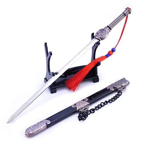 QIDUDZ FUXUE - Colgante de espada de metal para colgar en la bolsa, diseño de espada de juguete coleccionable para niños, regalo de cumpleaños para fiestas
