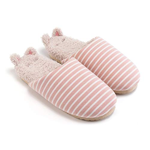 Zapatillas de felpa hongbanlemp para mujer otoño e invierno cálido algodón doméstico zapatillas para mujer invierno interior de felpa (color: B, tamaño: 39-40)