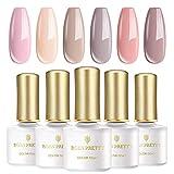 BORN PRETTY Set de vernis à ongles gel UV, 6 bouteilles 6 ml, Nude Series Pure Color, vernis à ongles Soak Off