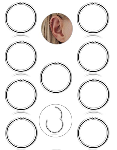 FIBO STEEL 9 Pcs Stainless Steel 16g Cartilage Hoop Earrings for Men Women Nose Hoop Ring Helix Septum Conch Daith Lip Tragus Piercing Jewelry