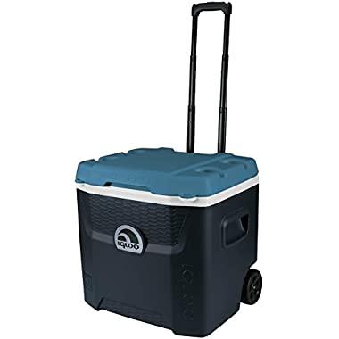 Igloo Max Cold Quantum Roller Cooler, Jet Carbon/Ice Blue/White, 52 quart