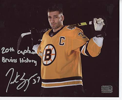 Patrice Bergeron Boston Bruins Signed Inscribed 20th Captain Retro Jersey 16x20