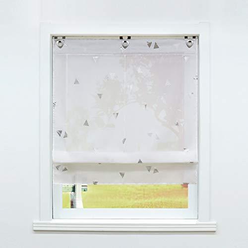 SCHOAL Raffrollo ohne Bohren Raffgardinen mit Ösen Gardinen Modern Ösenrollo Vorhänge Transparent BxH 80x130cm 1 Stück Weiß