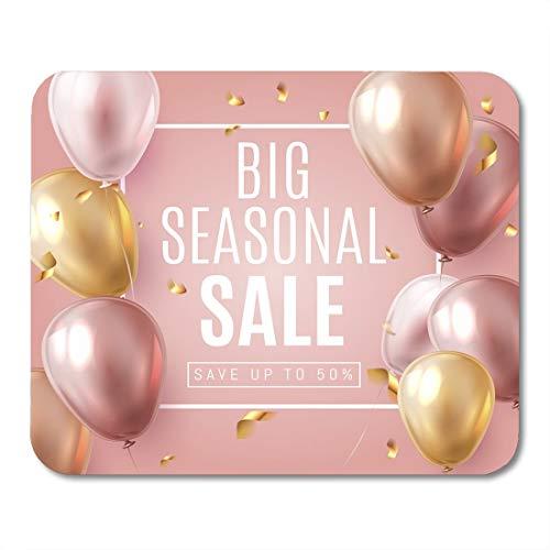 Grote seizoensgebonden finale verkoop tekst vieren met goud en roze lucht ballonnen realistische Grand mouses pad muismat