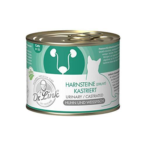 Dr. Link Spezial-DIÄT Harnsteine (Struvit) / Kastriert | Urinary/Castrated Huhn und Weißfisch |6 x 200 g | Nassfutter für Katzen